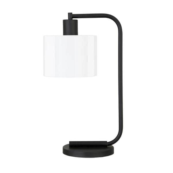 Meyer Cross Cadmus 20 1 2 In Blackened Bronze Table Lamp With White Milk Glass Shade Tl0467 The Home Depot