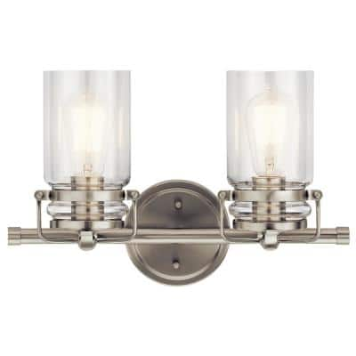 Brinley 2-Light Brushed Nickel Vanity Light with Clear Glass