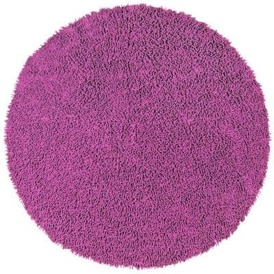 Orchid Shag Chenille Twist 3 ft. x 3 ft. Round Accent Rug