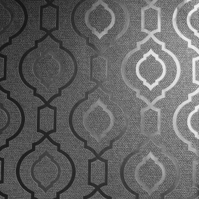 Calico Trellis Gunmetal Textured Vinyl Wallpaper
