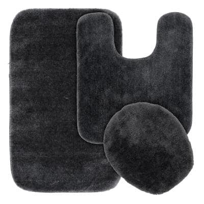 Traditional Dark Gray 3-Piece Washable Bathroom Rug Set