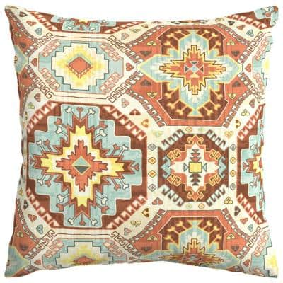 Russet Geo Square Outdoor Throw Pillow (2-Pack)