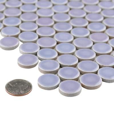 Hudson Penny Round Lavender 12 in. x 12 in. Porcelain Mosaic Tile (10.74 sq. ft. / Case)