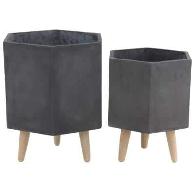 Farmhouse 15 in. and 17 in. Hexagon Dark Gray Wood, Ceramic and Fiber Clay Planters with Stands (Set of 2)