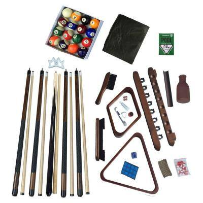 Deluxe Billiards Accessory Kit with Walnut Finish