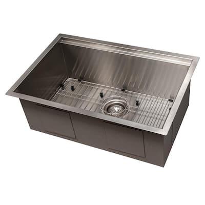 """ZLINE 27"""" Garmisch Undermount Single Bowl Stainless Steel Kitchen Sink with Bottom Grid and Accessories (SLS-27)"""