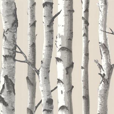 Tuxbury Beige Birch Tree Paper Strippable Wallpaper (Covers 56.4 sq. ft.)