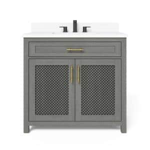 Erinton 36 in. W x 21 in. D Vanity in Antique Grey with Engineered Stone Vanity Top in White with White Basin