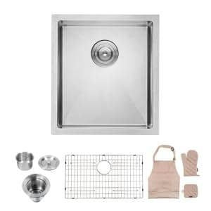Silver 16-Gauge Stainless Steel 17 in. Single Bowl Undermount Kitchen Sink
