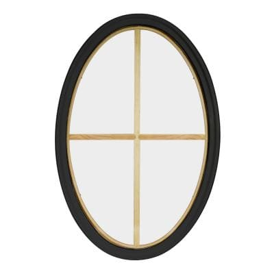 24 in. x 36 in. Oval Bronze 4-9/16 in. Jamb 4-Lite Grille Geometric Aluminum Clad Wood Window