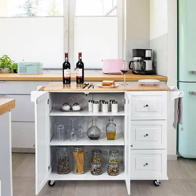 44in Drop-Leaf Kitchen Island Trolley Cart Wood Storage Cabinet w/Spice Rack White