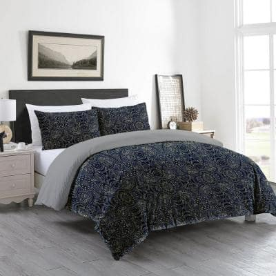GOTS Certified Reversible Print 3-Piece Navy Blue Damask 100% Organic Cotton Queen Duvet Cover Set