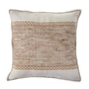Latticework Beige/Off-White Block 20 in. x 20 in. Decorative Throw Pillow