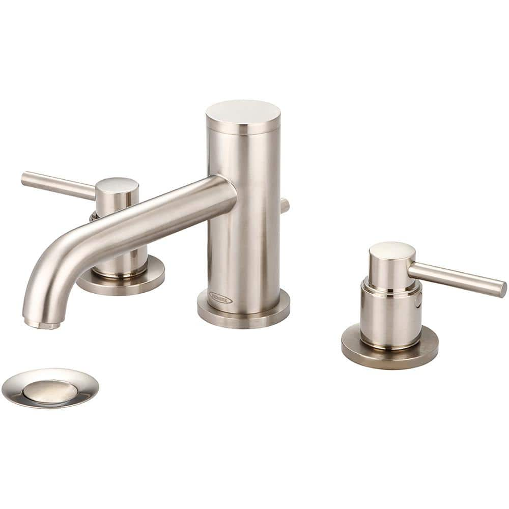 Pioneer Faucets Motegi 8 In Widespread 2 Handle Bent Nose Spout Bathroom Faucet In Brushed Nickel With Drain Assembly 3mt500 Bn The Home Depot
