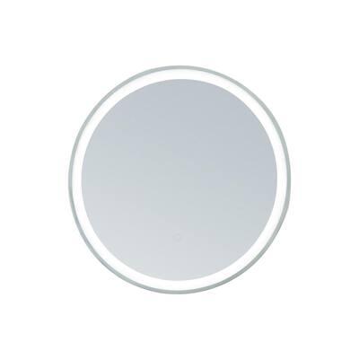 30 in. W x 30 in. H Framed Round LED Light Bathroom Vanity Mirror in Stainless Steel