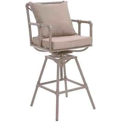 Jacoby Swivel Metal Outdoor Bar Stool with Gray Cushion