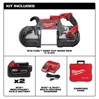 M18 FUEL 18-Volt Lithium-Ion Brushless Cordless Deep Cut Band Saw with Two 5.0Ah Batteries, Charger, Hard Case
