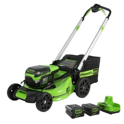 PRO 21 in. 60-Volt Battery Cordless Self-Propelled Lawn Mower with (2) 4.0 Ah Battery and Charger