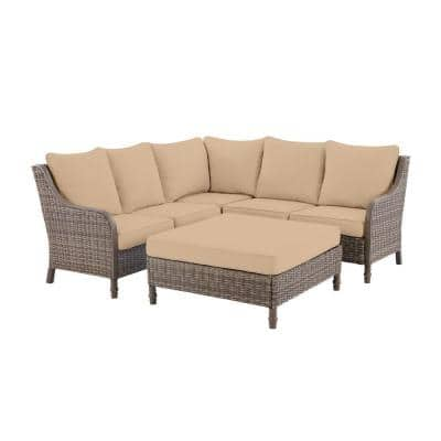 Windsor 4-Piece Brown Wicker Outdoor Patio Sectional Sofa with Ottoman and Sunbrella Beige Tan Cushions