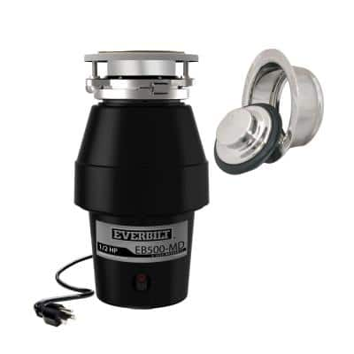 Designer Series 1/2 HP Continuous Feed Garbage Disposal with Polished Chrome Sink Flange and Attached Power Cord