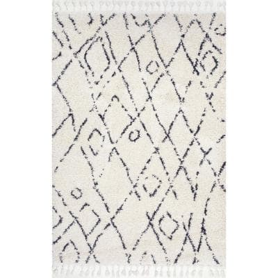 Nieves Moroccan Diamond Tassel Off-White 10 ft. Round Rug