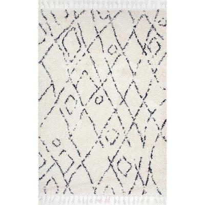 Nieves Moroccan Diamond Tassel Off-White 4 ft. Round Rug