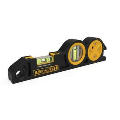 8 in. Die-Cast Scaffold Level, Aluminum Handy Heavy Duty Tool with 2 Vials, Multi-Angle Laser Pointer and Batteries