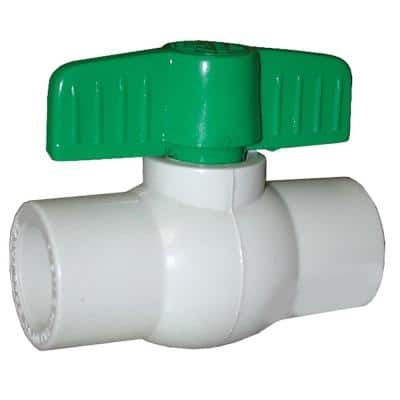 1 in. x 1 in. PVC Straight Ball Valve with Solvent Ends