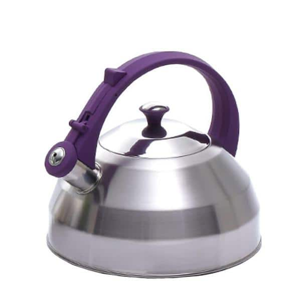 Creative Home Steppes 11-Cup Tea Kettle in Stainless Steel with Purple Silicone Handle/Knob