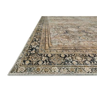 Layla Olive/Charcoal 9 ft. x 12 ft. Traditional 100% Polyester Area Rug