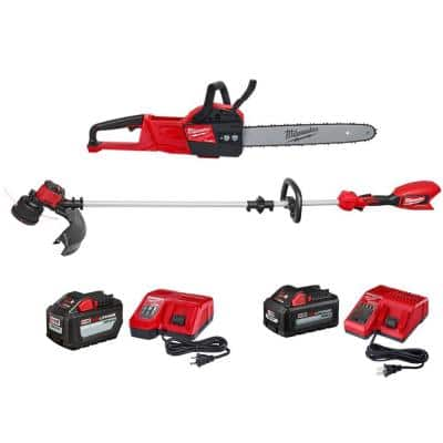 M18 FUEL 16 in. 18-Volt Lithium-Ion Battery Brushless Cordless Chainsaw & M18 Brushless String Trimmer Combo Kit(2-Tool)