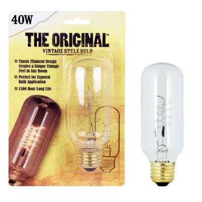 40W Equivalent T14 Dimmable Incandescent Amber Glass Vintage Edison Light Bulb With Spiral Filament Soft White