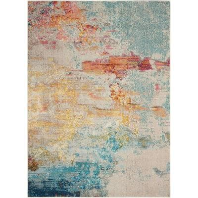 Celestial Sealife Multicolor 2 ft. x 4 ft. Abstract Modern Area Rug
