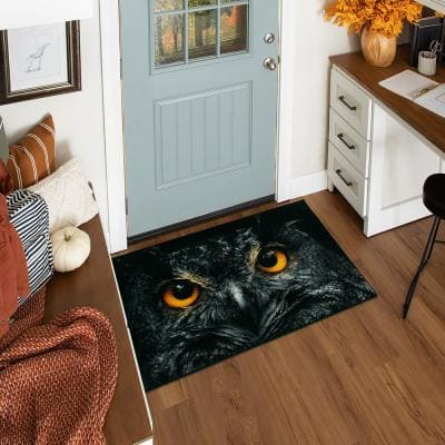 Owl Face Black 2 ft. 6 in. x 4 ft. 2 in. Holiday Area Rug