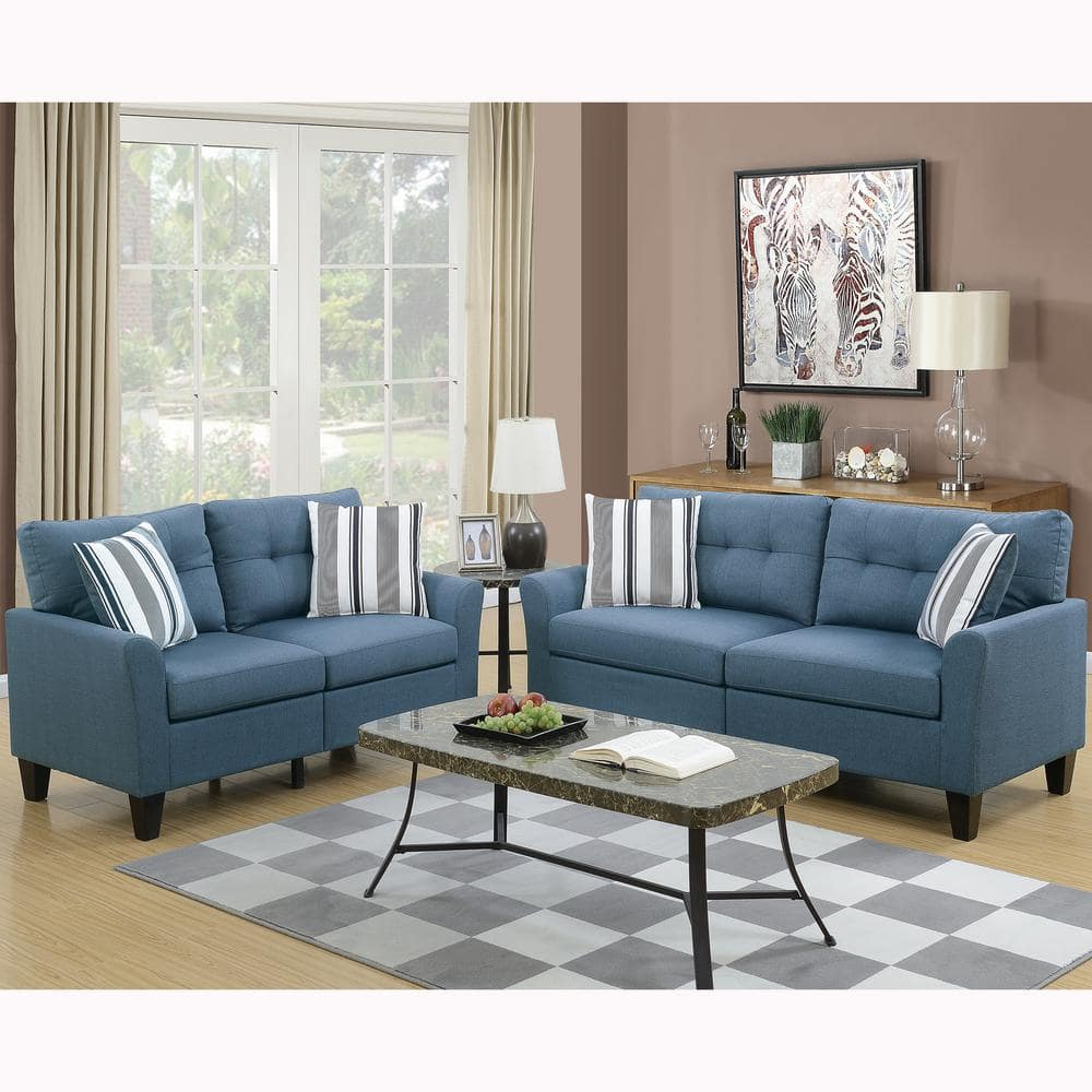 Venetian Worldwide Sardinia 2 Piece Blue Sofa Set Vene F6535 The Home Depot