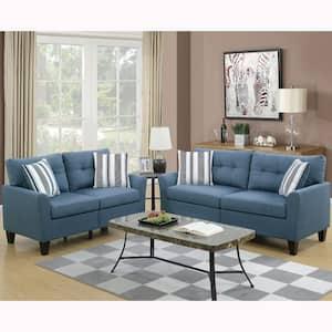 Sardinia 2-Piece Blue Sofa Set