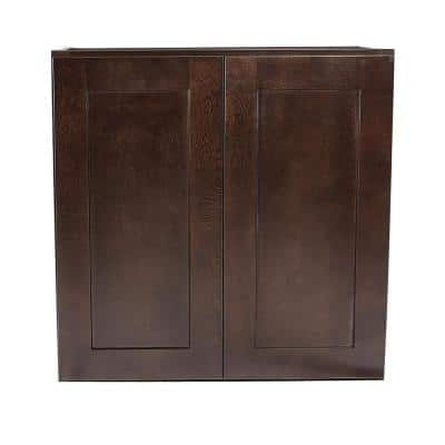 Brookings Plywood Ready to Assemble Shaker 27x12x30 in. 2-Door Wall Kitchen Cabinet in Espresso