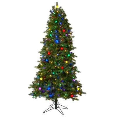 6.5 ft. Pre-lit Montana Mountain Fir Artificial Christmas Tree with 450 Multi Color LED Lights, 45 Globe Bulbs