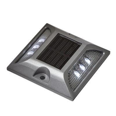 Solar Powered Silver Heavy Duty LED Dock, Deck and Pathway Light with Bright White LED Lights