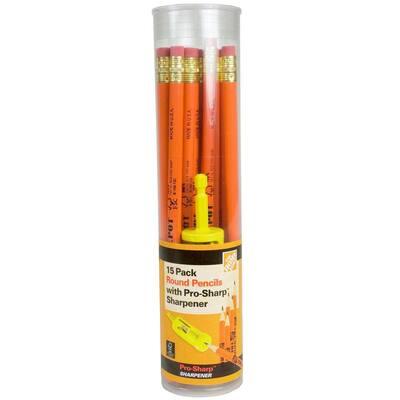 Round Pencils with Pro-Sharp Sharpener (15-Pack)