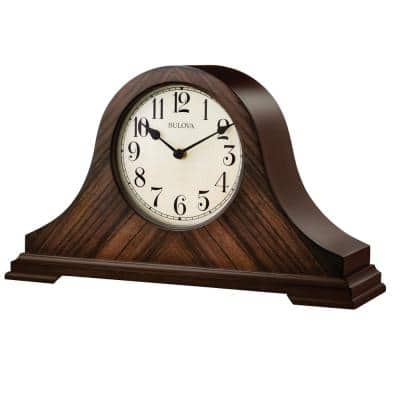 9 in. H x 15.25 in W Walnut Traditional Table Clock with Hardwood Case