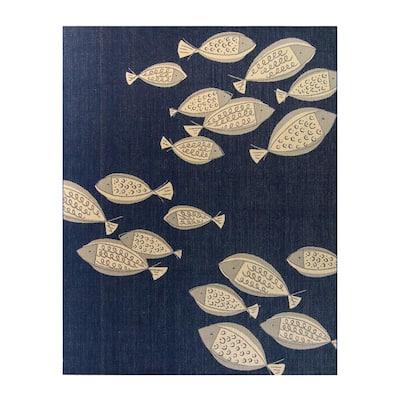 Paseo Loutro School of Fish Navy/Grain 8 ft. x 10 ft. Indoor/Outdoor Area Rug