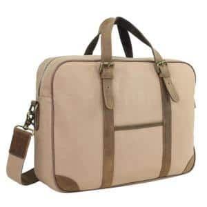 16 in. Khaki Casual Style Canvas Laptop Messenger Bag with 15 in. Laptop Compartment
