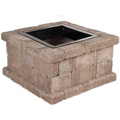 RumbleStone 38.5 in. x 21 in. Square Concrete Fire Pit Kit No. 3 in Cafe