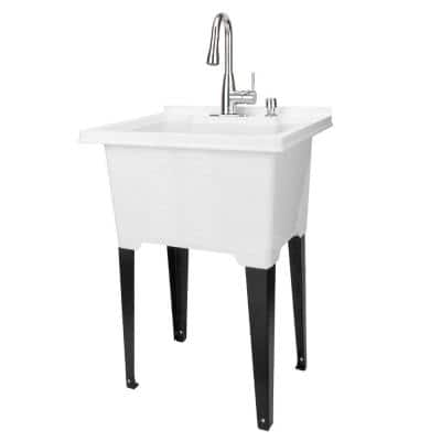 25 in. x 21.5 in. ABS Plastic Freestanding Utility Sink in White - Chrome Pull-Down Faucet, Soap Dispenser