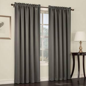 Steel Solid Rod Pocket Room Darkening Curtain - 54 in. W x 63 in. L