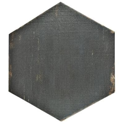 Take Home Tile Sample - Retro Hex Nero 8 in. x 7 in. Porcelain Floor and Wall