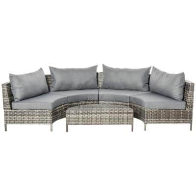 Outsunny Grey 5-pc Steel Plastic Rattan Outdoor Couch Set with Grey Cushions and Half-Moon Design