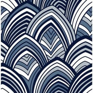 CABARITA Indigo Art Deco Leaves Paper Strippable Roll (Covers 56.4 sq. ft.)