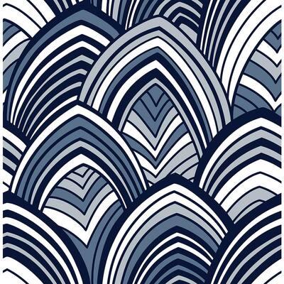 CABARITA Indigo Art Deco Leaves Indigo Wallpaper Sample